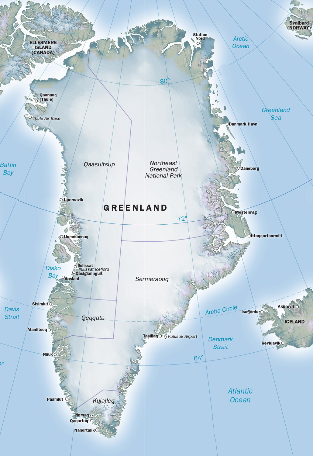 Greenland with Tasillaq marked on the south-east coast. (Click on map for larger image)