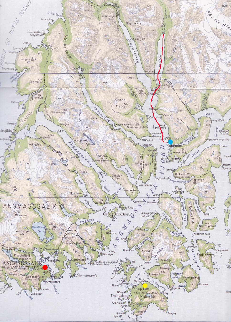 The airport in Kulusuk is shown in yellow; the town of Tasiilaq is in red; the fishing village of Kuummiiut is in blue, with the route in by fishing boat shown as a red line. (Click on map for larger image)