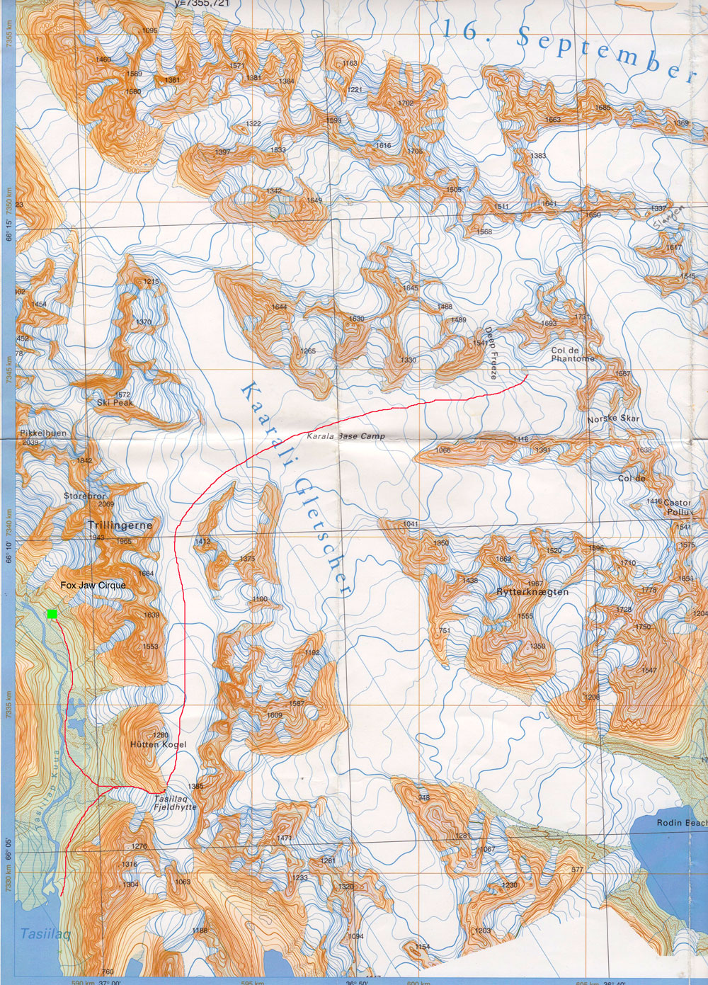 The red line shows our hiking route up to the Tasiilaq Fjeldhytte, then by ski across the Kaarali Glacier to camp below the Col de Phantome, then to the Fox Jaw Cirque with that camp shown in green. (Click on map for larger image)
