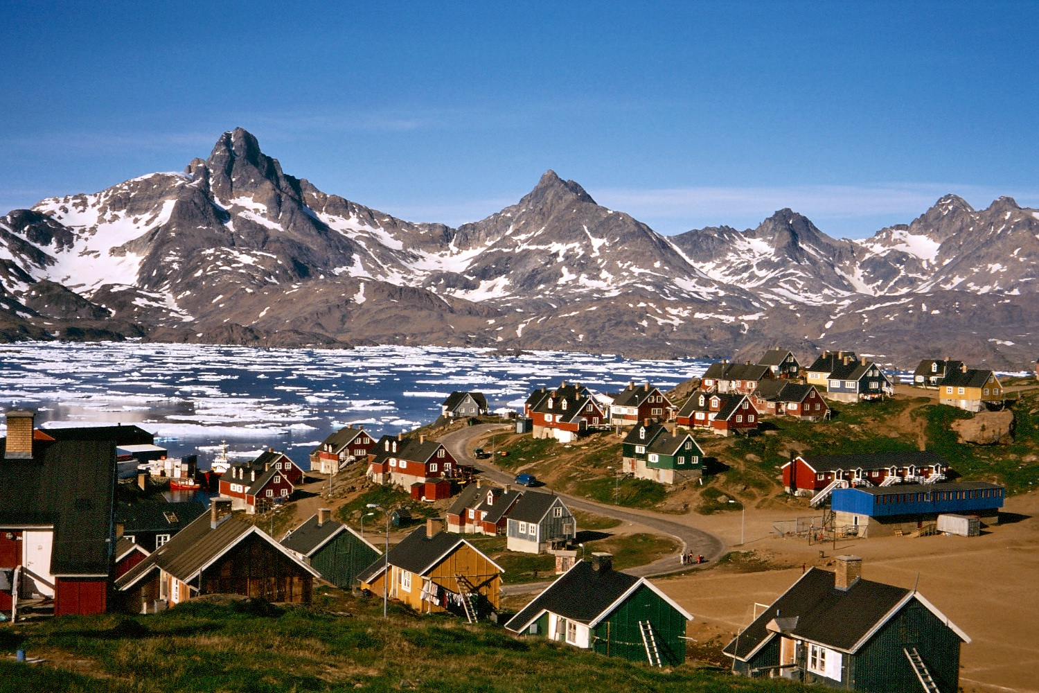 The town of Tasiilaq with it's colourful houses