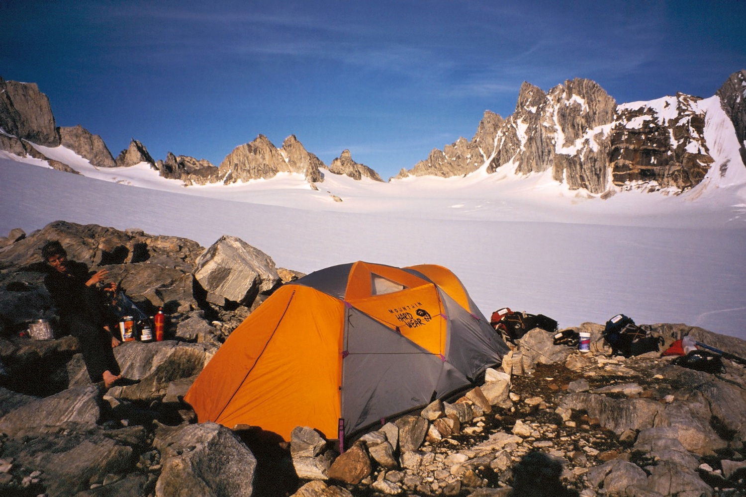 Our camp on a rocky outcrop near the head of a snow basin - the Col de Phantome is behind