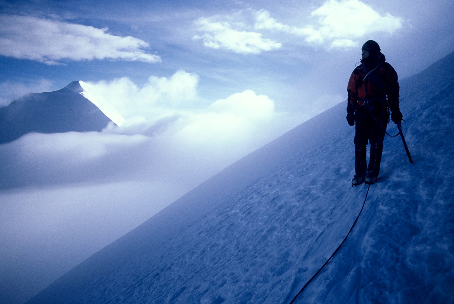 Tash descending Illimani, glad to be out of the winds up high