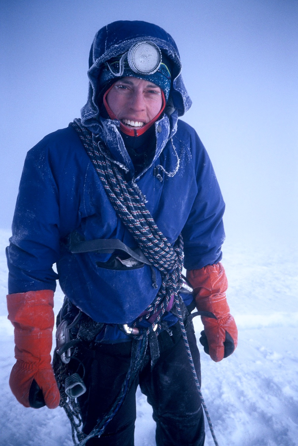 Gemma frosted up after descending from the summit of Illimani in strong winds