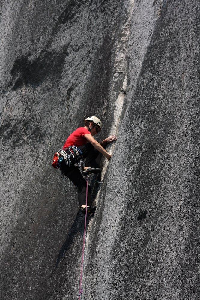 Gemma leading 'Hand Jive' (5.10b), Lower Malamute