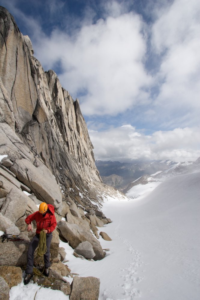 Tash preparing to climb the West Ridge of Pigeon Spire