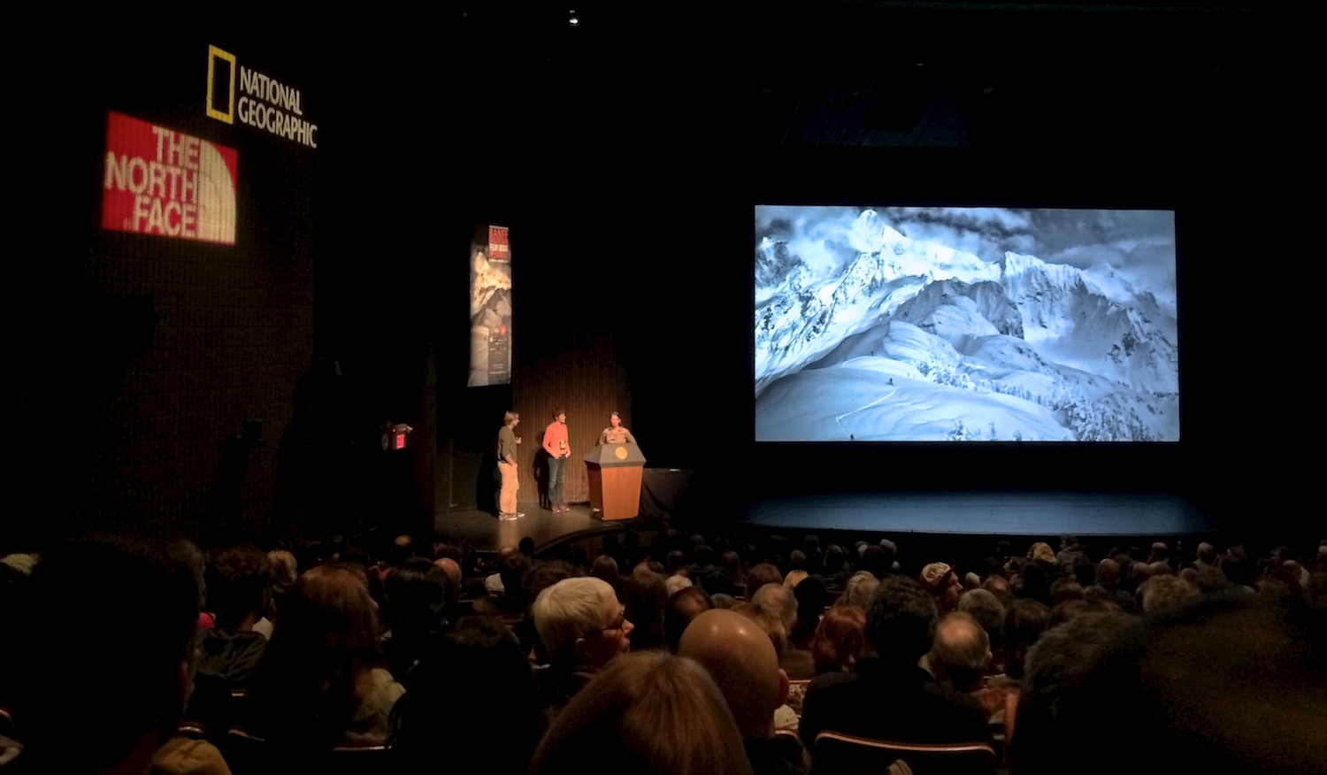 On stage for Q & A after the screening of 'Resounding Silence' at the Banff Mountain Film Festival, November 2013