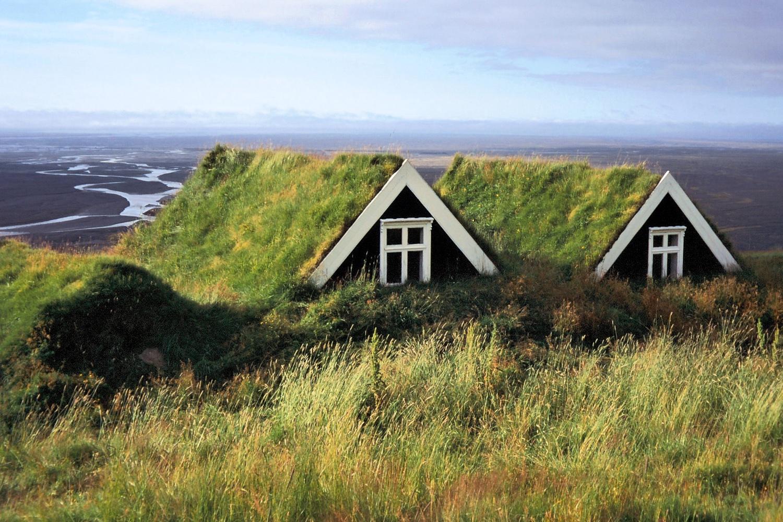 Turf roofed huts near Vatnajökull Glacier