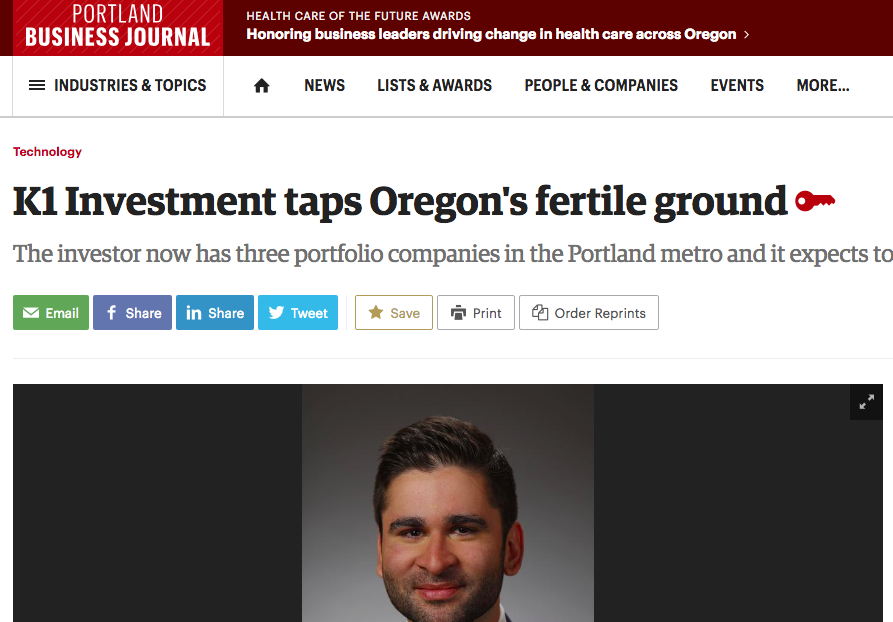 K1 Investment taps Oregon's fertile ground - Portland Business Journal