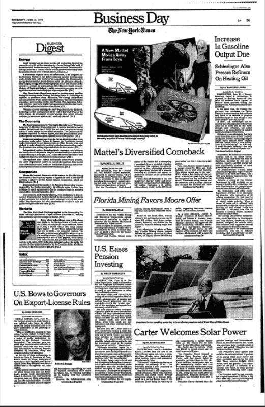 """U.S Eases Pension Investing"",  The New York Times , June 21, 1979."