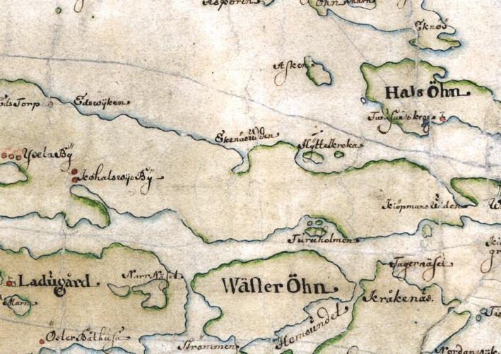 Furusund, Yxlan, Oxhalsö och Blidö, detaöj från Carl Gripenhielms skärgårdskarta