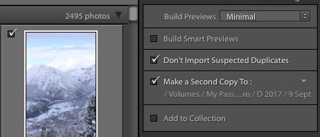 "Lightroom has a ""Make a Second Copy"" option for easy backups"