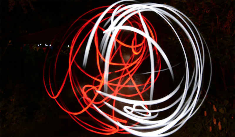 AFTER: using long shutter speed for light painting