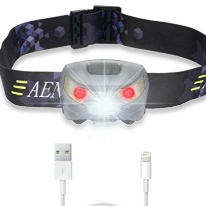 Rechargeable head torch with red light option, to preserve night vision. (£22)