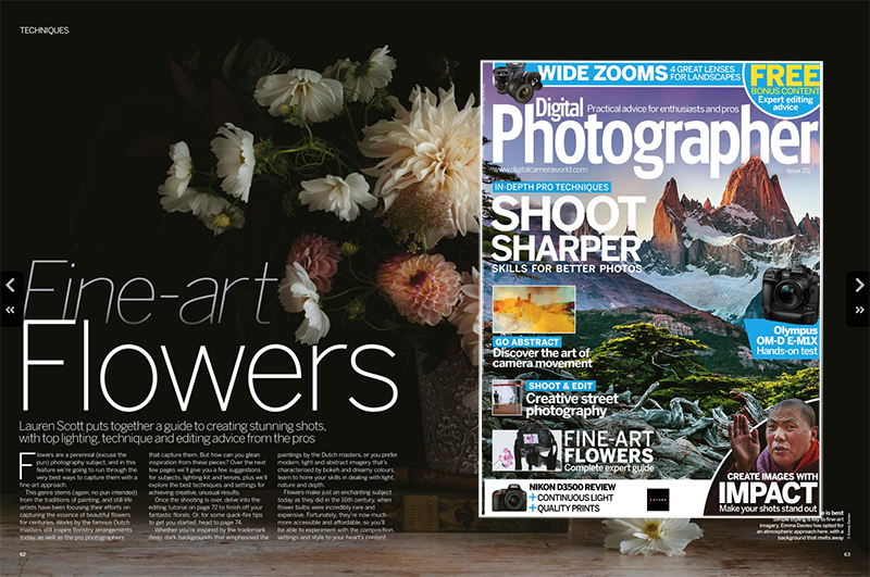 Emma was featured in the recent Fine Art Flowers edition of Digital Photographer magazine.
