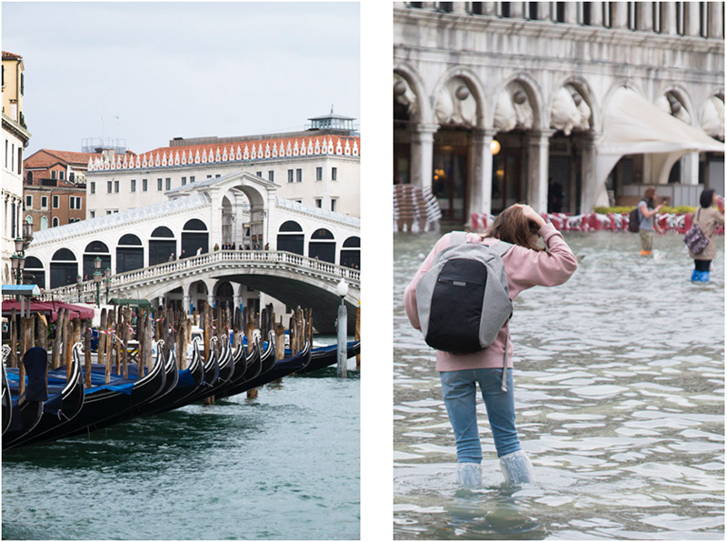 The shot on the left of the Rialto bridge in Venice can be seen on anyone's travel blog. But the one on the right, of the effects of the Acqua Alta in St Mark's Square, is a bit more unusual.