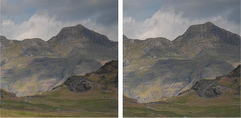 Left: original shot. Right: over-sharpening artefacts visible.