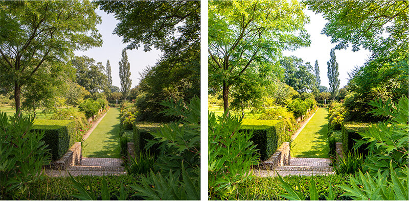 Left: minimal HDR applied, just enough to balance the deep shadows in the foreground. Right: overdone HDR.