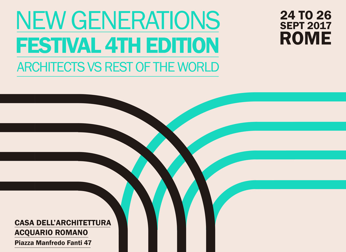 """Itinerant Office is proud to present the   4th edition of """"New Generations Festival - Architects VS Rest of the World"""" which will take place in Rome at the  Casa dell'Architettura  from 24th to 26th September 2017.  The Festival, curated by  Gianpiero Venturini and inserted within the 2017 Estate Romana program, proposes  an intense program of discussion, workshop and cultural activites, involving a selection of about 80 international guests from more than 10 countries, gathered to reflect on the profession of the architect. The three days of the Festival will be centred on three major topics: """"Urban Vocabulary & Public Space"""" - September 24th, """"New Economies & Values"""" - September 25th, and """"Digital Infrastructure & New Media"""" - September 26th.   We invite you to the opening evening! It will be held the next  24th September at 8:30 pm at Casa dell'Architettura, followed by a  Pecha Kucha Night.   The event will unite more than 50 young designers and international experts. These include  APPAREIL (ES), Architecture for Refugees (CH), ecoLogicStudio  (UK), Emanuele Bompan  (IT), Ricardo Devesa  (ES), U67  (IT). Institutional guests, such as  Luca Montuori  (IT), Josep Bohigas (ES), Joni Baboçi (AL). In addition to this, two keynote speakers will fuel the debate during the evenings: Koert van Mensvoort  (Director of Next Nature, NL) and Jose Luis Vallejos (ecosistema urbano, ES).  In the coming days we will release the program of the event with all participants! You can keep up to date through the Festival social channels.   Official Website:  newgenerationsweb.com   Facebook:  @ngenerations   Twitter:  @New_Gens   Instagram:  @newgens   We look forward to having you at the Festival!"""
