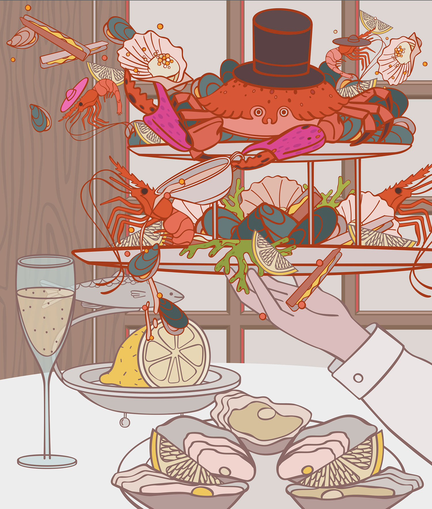 Restaurant Review Illustrated: J Sheekey's Oyster Bar in London.