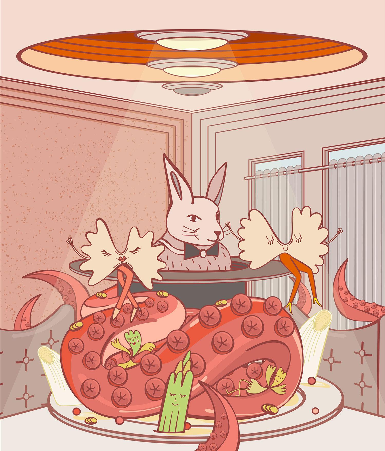 Restaurant Review Illustrated: Penati al Baretto in Paris.