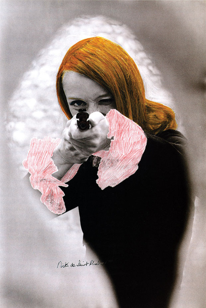 Niki de Saint Phalle pointing her gun, 1972 Black and white photograph with color retouching, still from the film Daddy Photo: © Peter Whitehead