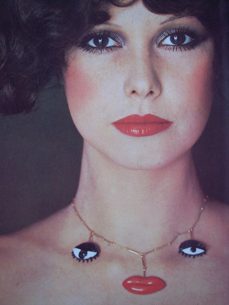 Surrealist necklace with eye and mouth pendants by Niki de St Phalle (1987) for Milanese goldsmith GianCarlo Montebello. A collaboration with the Société des Amis du Musée National d'Art Moderne, Centre d'Art et Culture Georges Pompidou