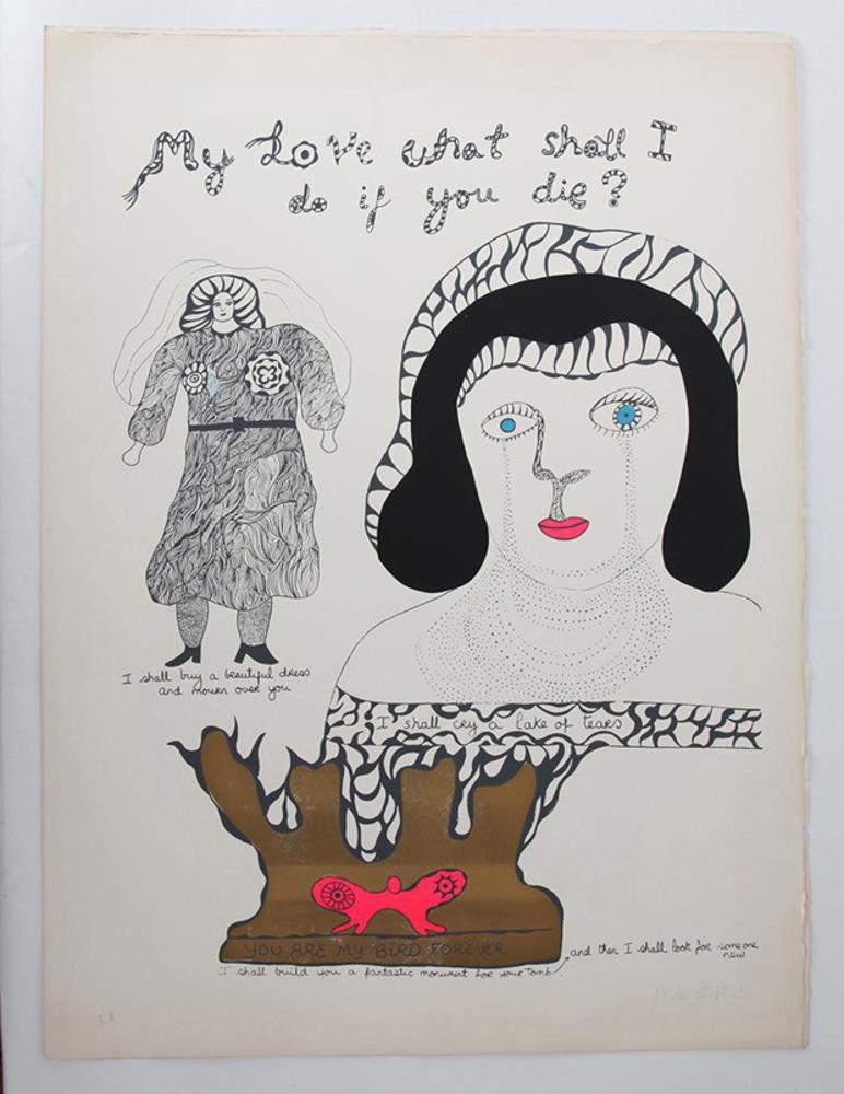 "Niki de Saint Phalle, Serographs: ""My Love What Shall I do if You Die,"" c.1960s"