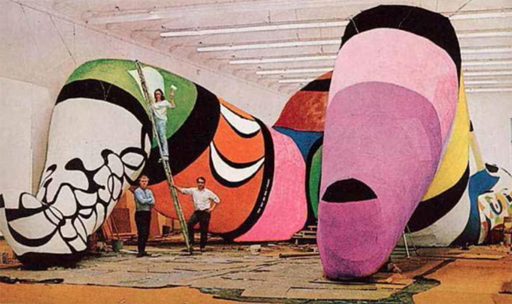 "Per Olof Ultvedt, Niki de Saint Phalle and Jean Tinguely in front of ""Hon"" Moderna Museet, Stockholm, summer 1966"
