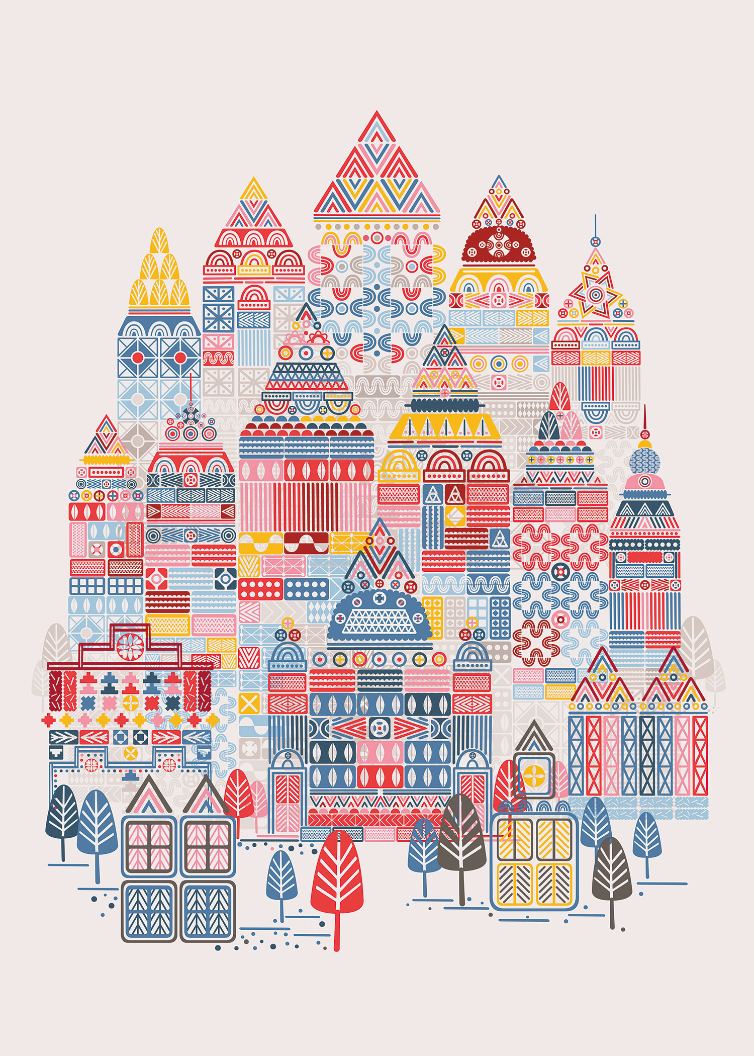 Utopian Day is a piece from the Utopian City series, built with geometric shapes and a complex color palette. By changing the color palette they bring out the warm and encouraging joy of the day.