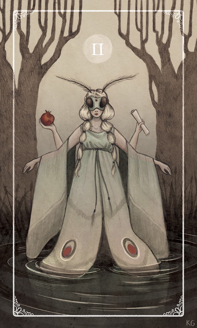 High Priestess Tarot Card / Krista Gibbard: http://bardillustration.tumblr.com/