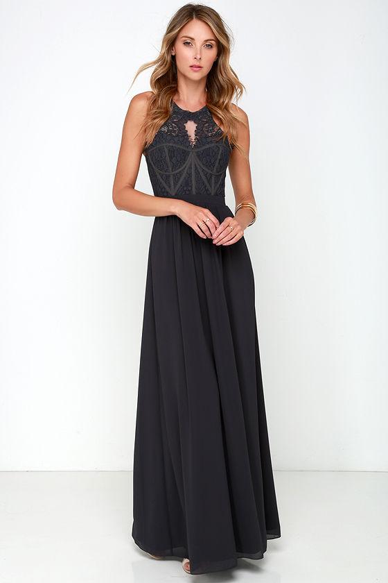 Bariano Optimum Opulence Dark Blue Grey Lace Maxi Dress