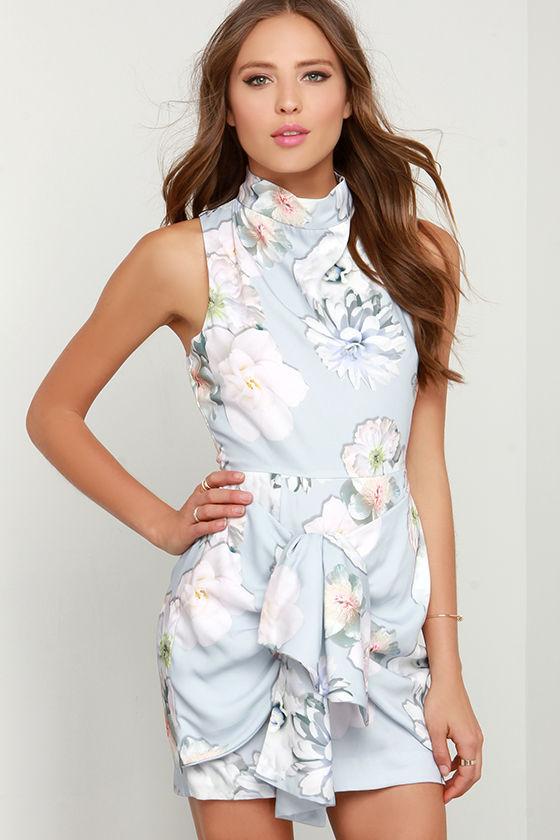 Finders Keepers Earthly Treasures Grey Floral Print Dress