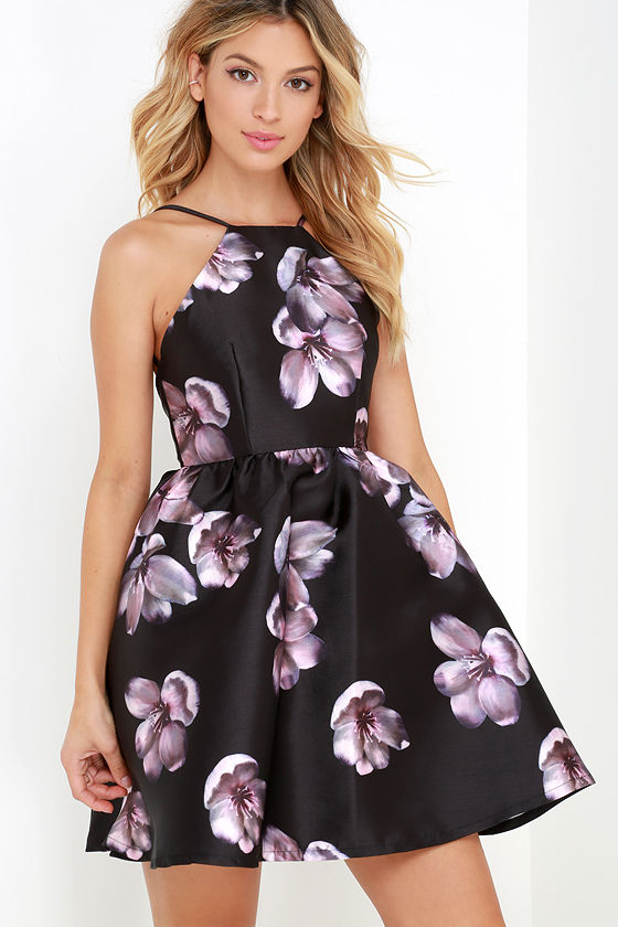 Botanical Bliss Black Backless Floral Print Dress