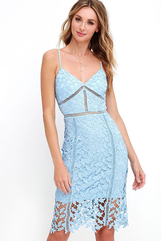 Burning Desire Light Blue Lace Dress