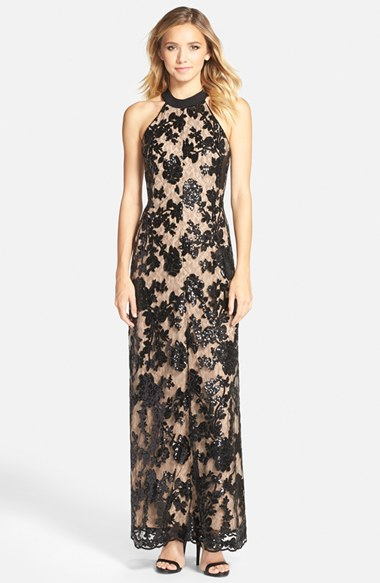 'Valentina' Lace Halter Gown