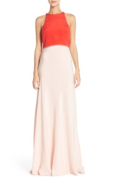 Colorblock Popover Crepe Gown