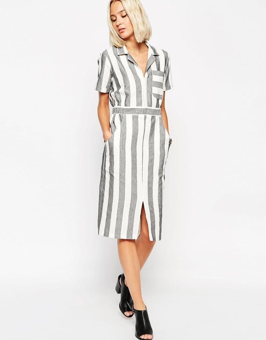 ASOS TALL Shirt Dress in Natural Fibre Stripe — $46.19