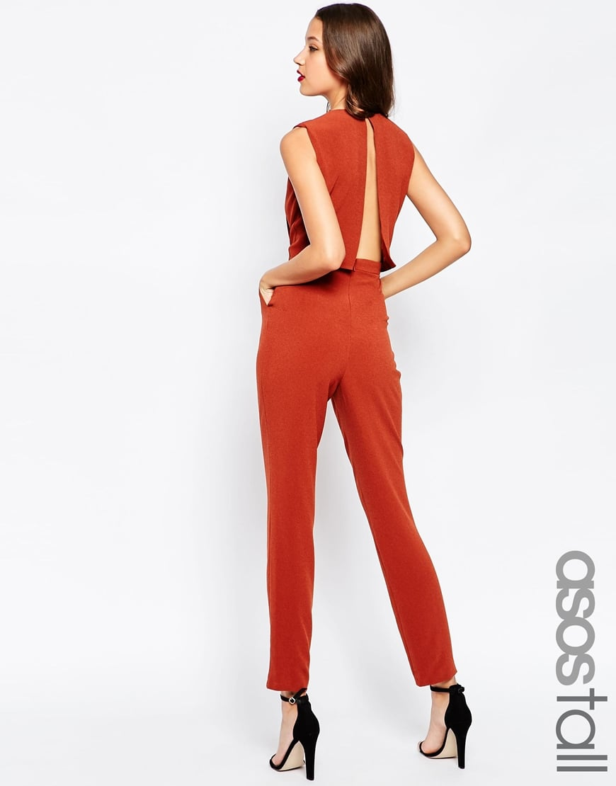 ASOS TALL Jumpsuit With Open Back And Pleat Detail — $30.79