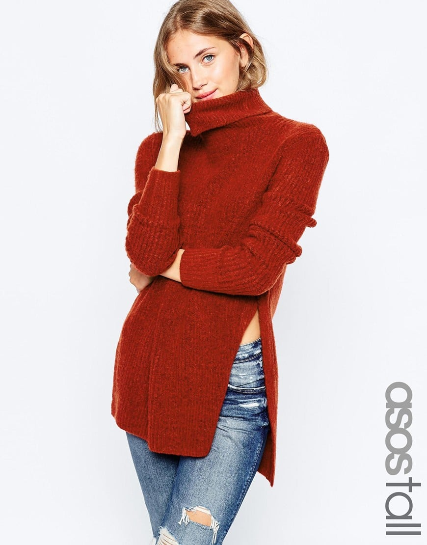 ASOS TALL Jumper In Brushed Yarn With High Neck and Side Splits — $34.21