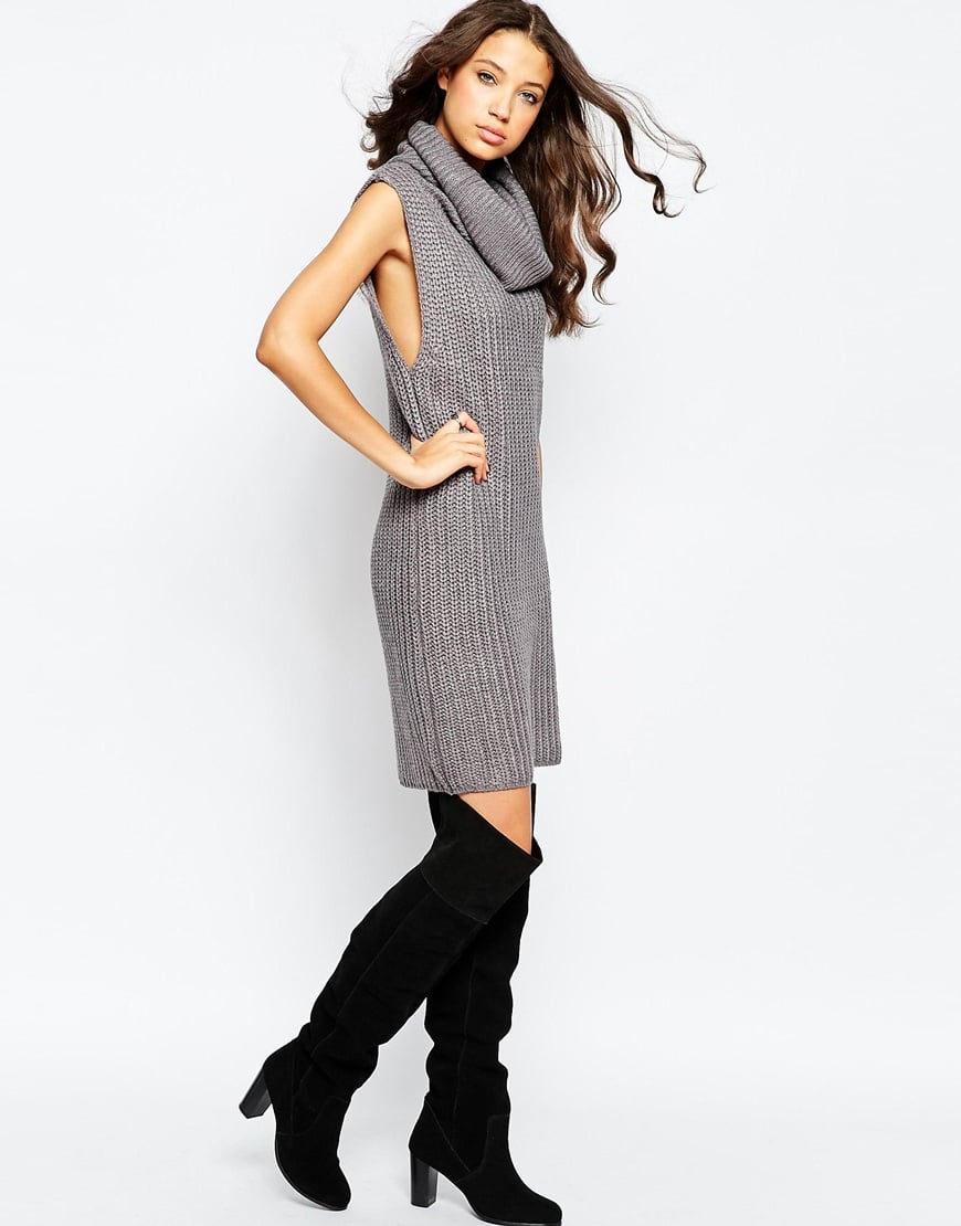 Brave Soul Tall Chunky Knit Jumper Dress With Cowl Neck — $34.21