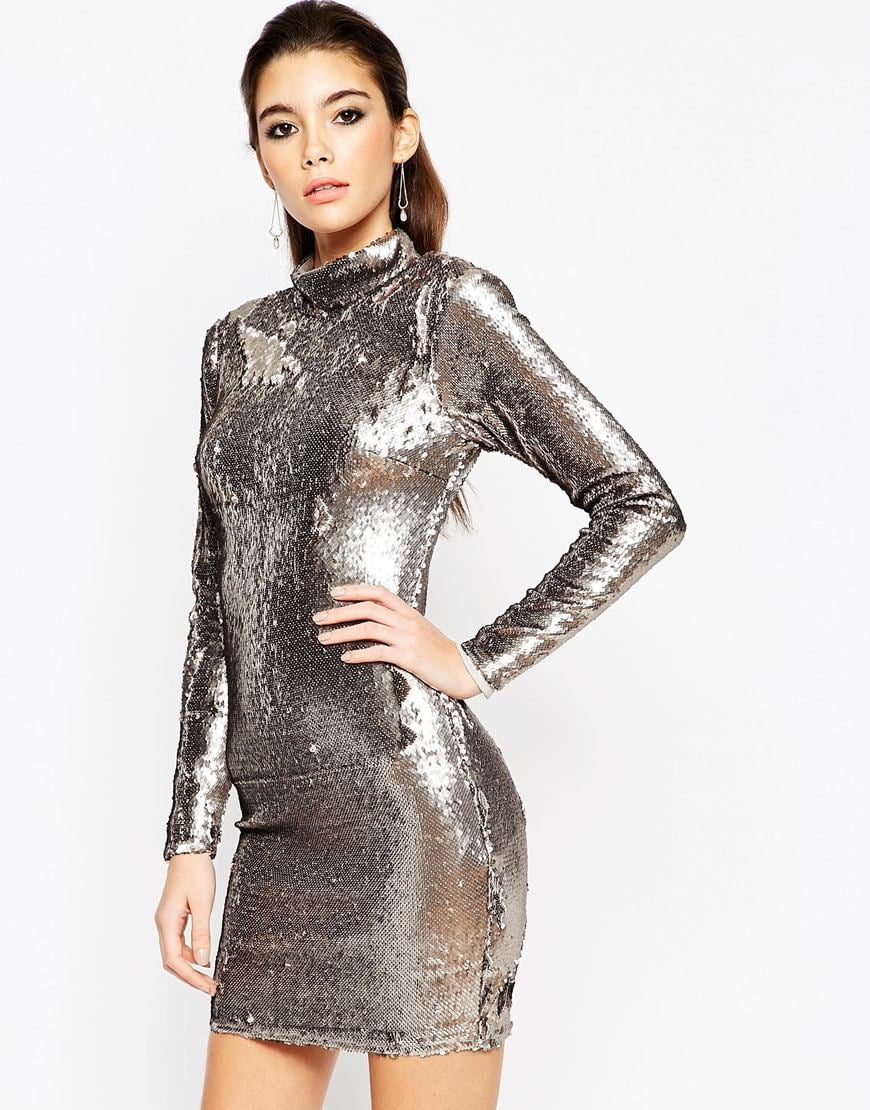 ASOS NIGHT Embellished Polo Sequin Mini Dress