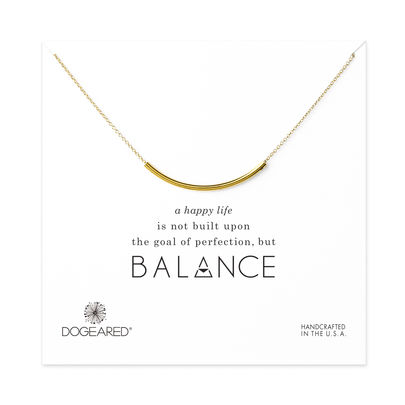 balance curved tube necklace, gold dipped