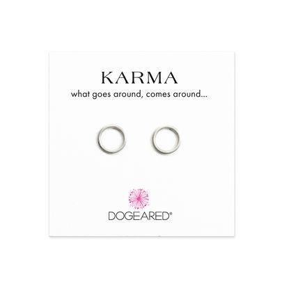 karma smooth stud earrings, sterling silver
