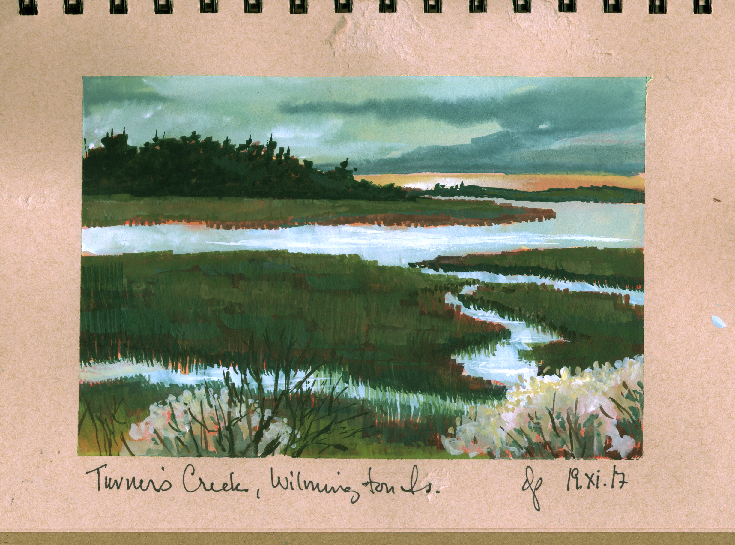 Full-color gouache sketch of Turner's Creek, separating Wilmington from Whitemarsh Island