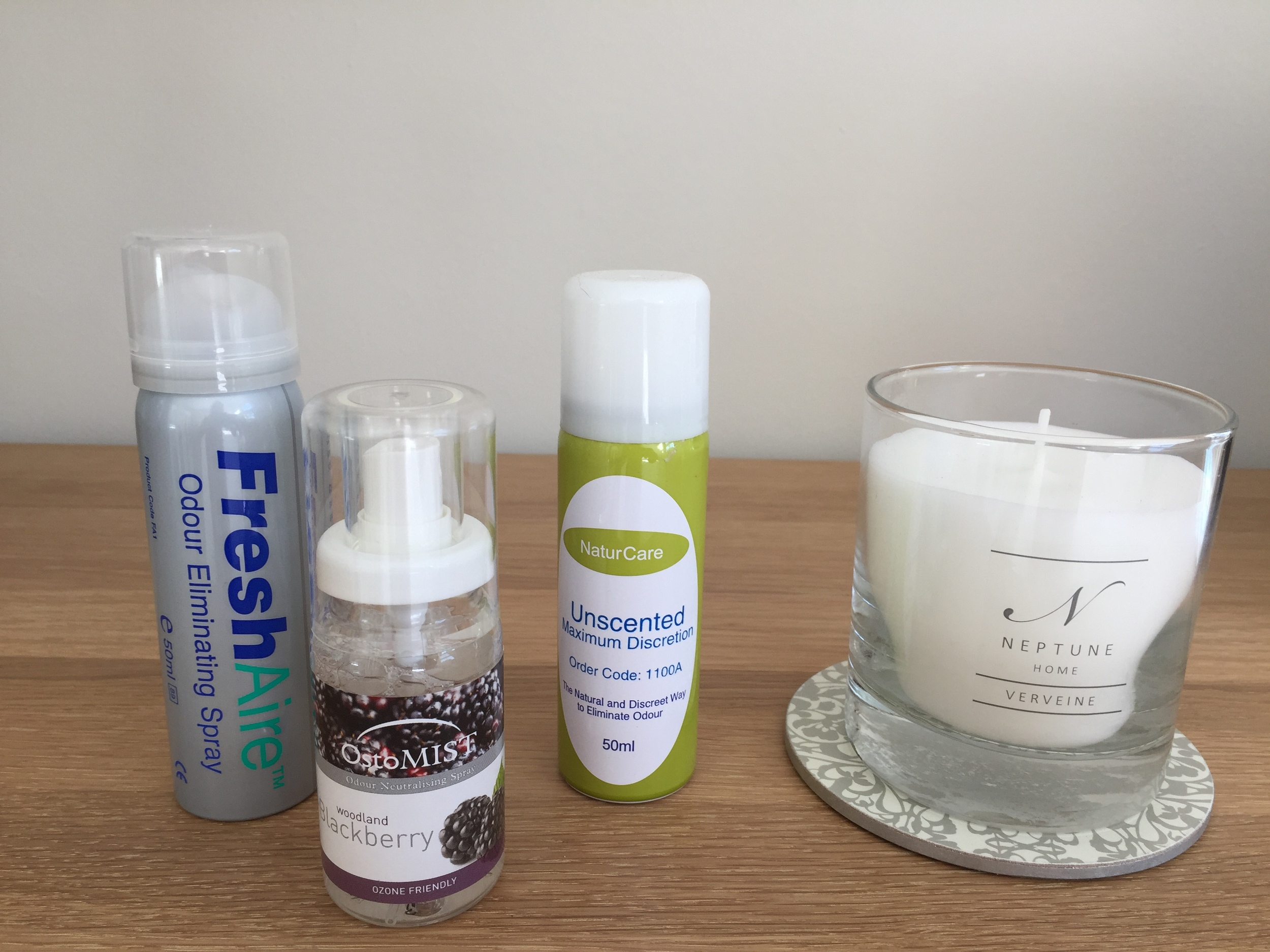 There are a variety of ostomy rooms sprays available, they work far far better than any normal retail air fresheners. I prefer the minty ones but I imagine that is very much down to personal choice.  Your ostomy provider should be able to supply various room sprays, Candle from Neptune.com