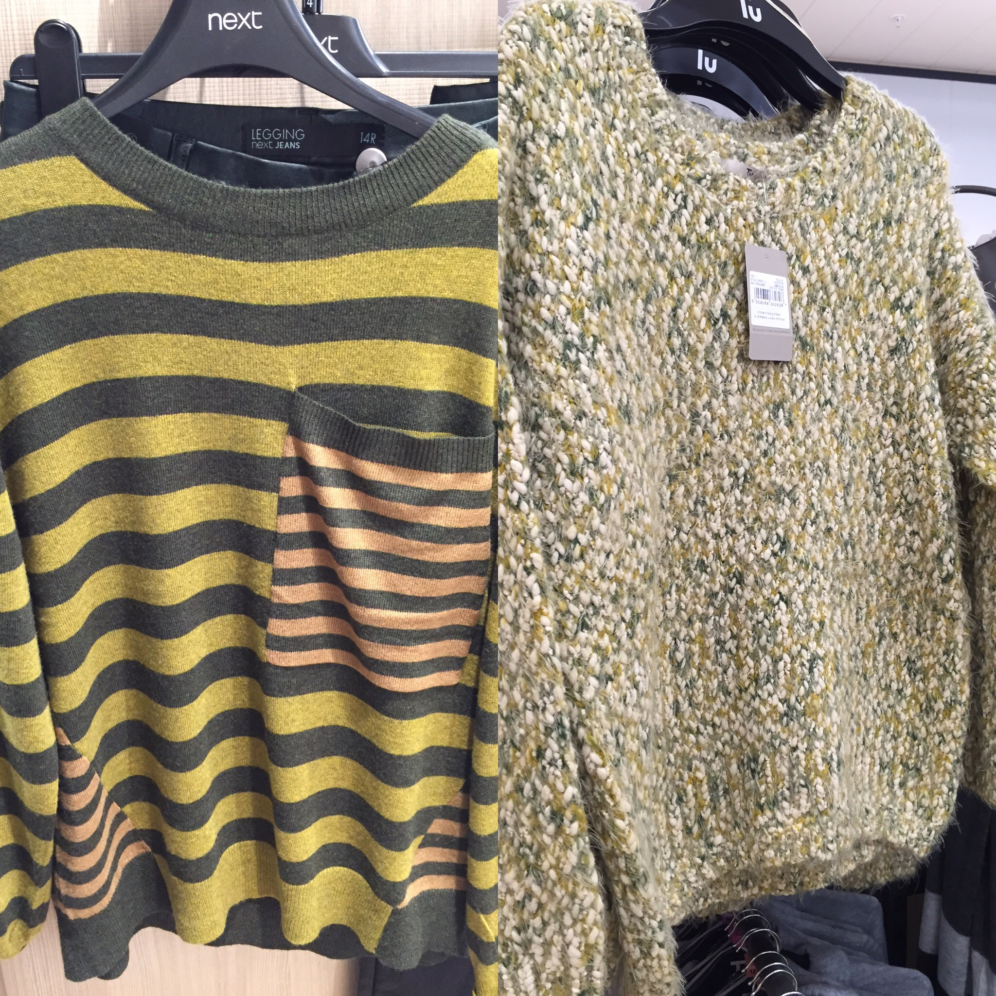 I love this seasons clothing,how gorgeous are these colours. Can't wait to wear them.  :)  Striped top from Next, other top from Sainsbury's.