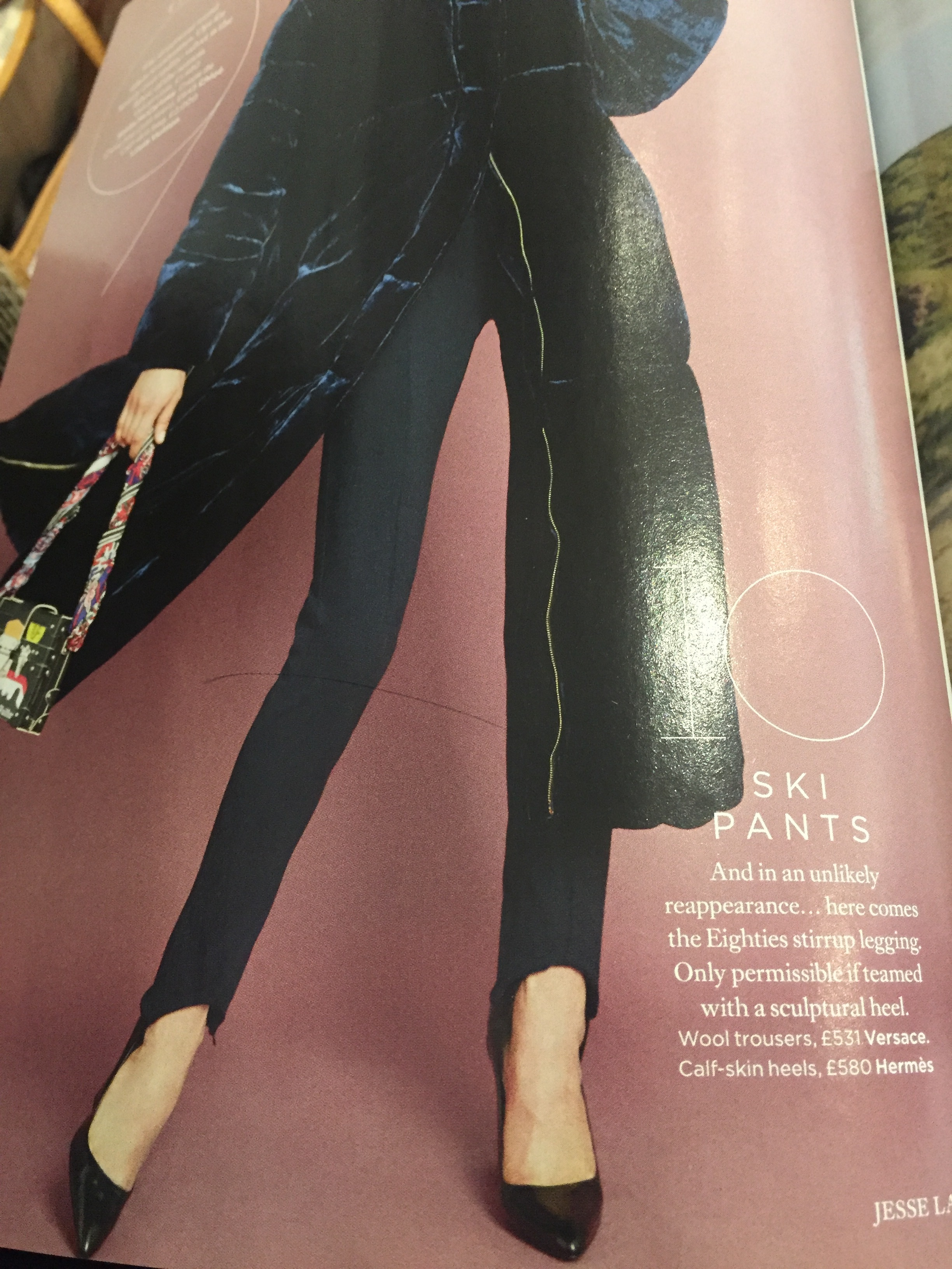 FYI ladies, it's hard to believe they're back with a vengeance but I saw this in Harper's Bazaar or Elle, I forget which one now but ski pants are back!! Handy for us as they were alway super stretchy from what I recall of the eighties icon!