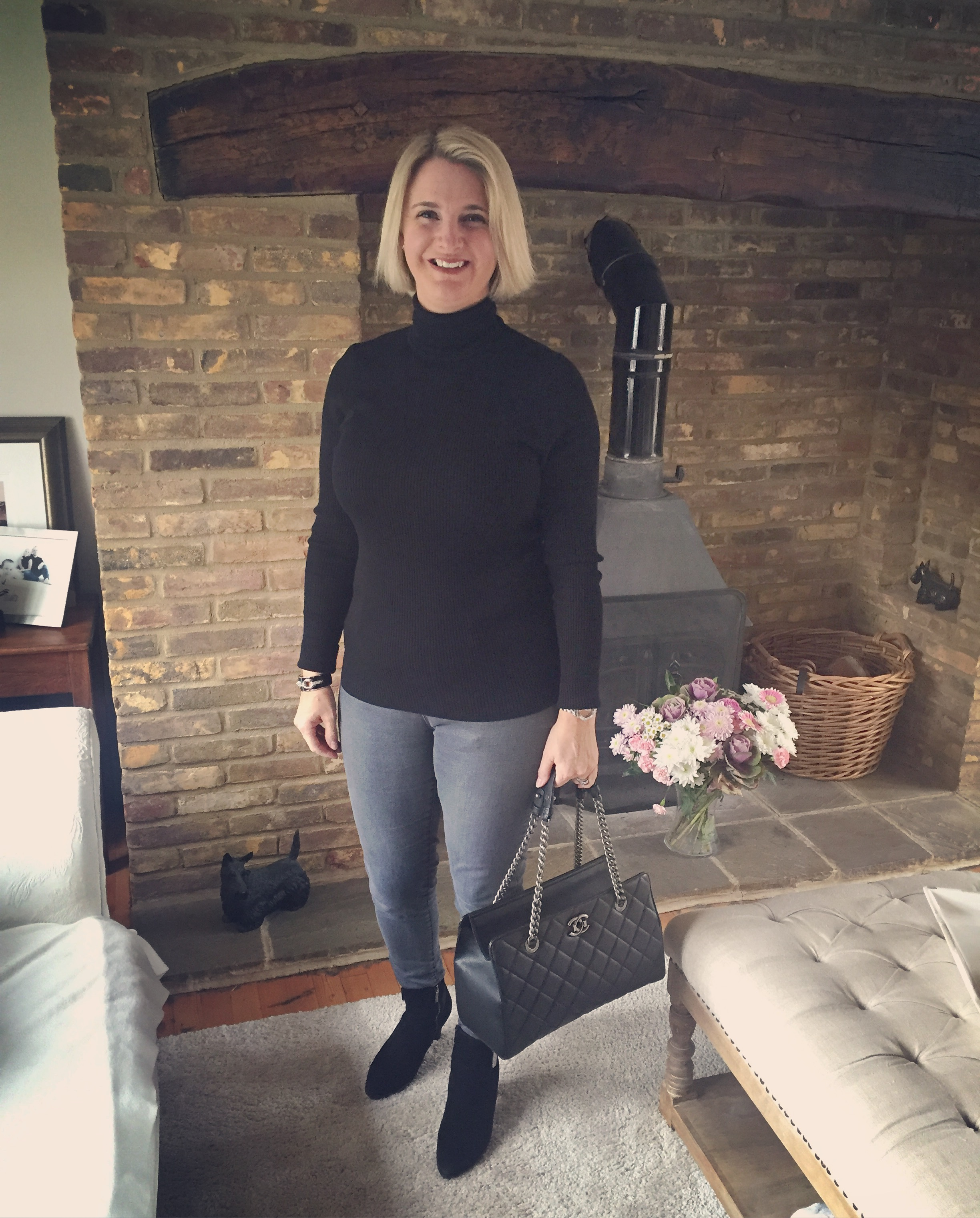 Top from Marks and Spencer, Jeggings from Dorothy Perkins, Boots from Russell and Bromley, Bag from chanel