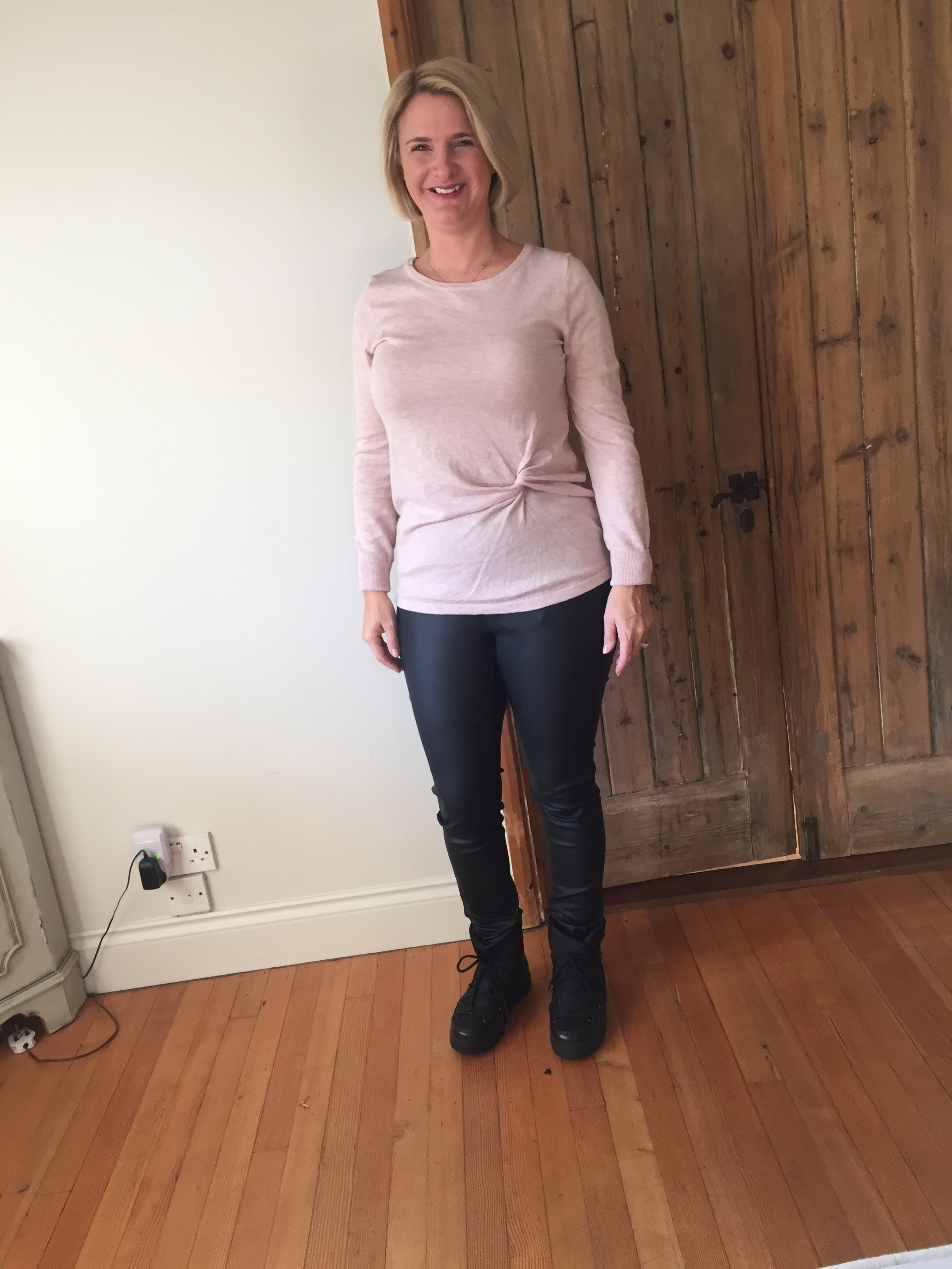 Top from Next, leather look jeggings from Next and Boots from Moncler