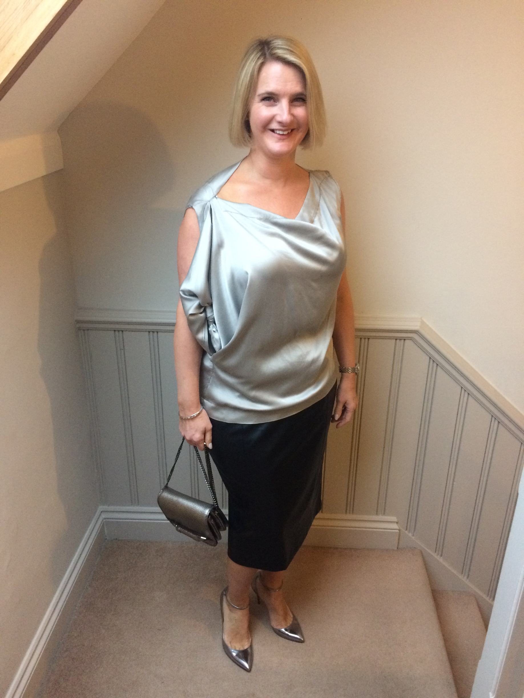 Top from Vivienne Westwood, Skirt from Marks and Spencer, Shoes and Bag from Jimmy Choo